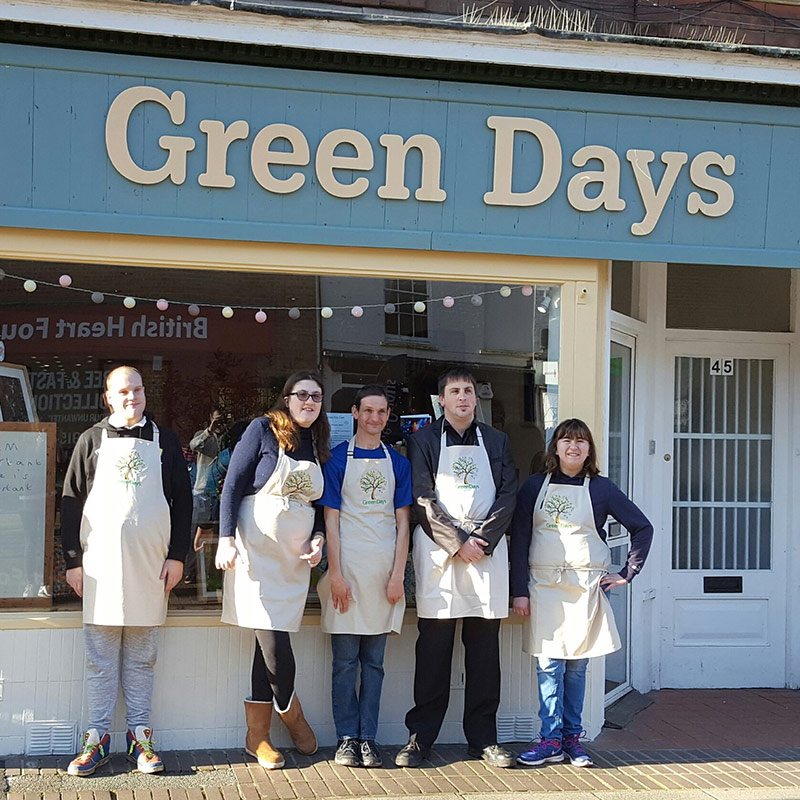 Shop Assistants team outside Green Days Shop Taunton